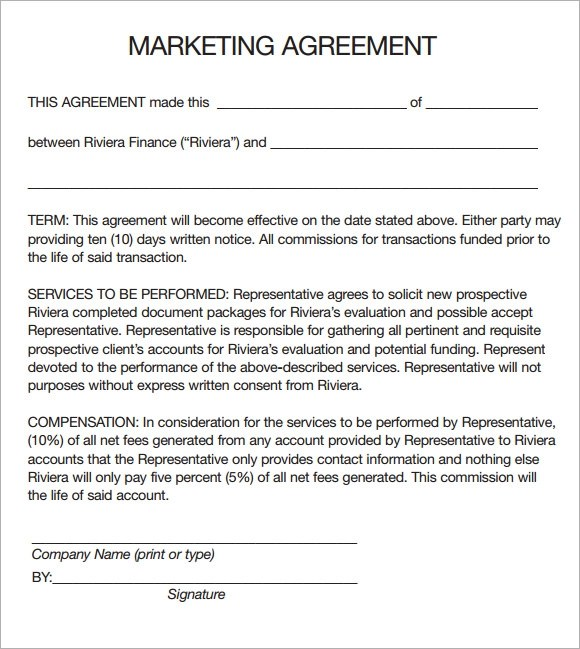 marketing agreement sle independent contractor