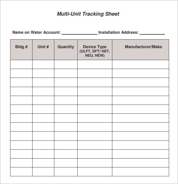 9+ Sample Editable Tracking Sheets Sample Templates