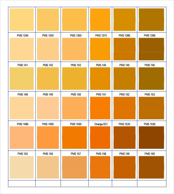 9+ Sample Pantone Color Charts Sample Templates - sample pms color chart