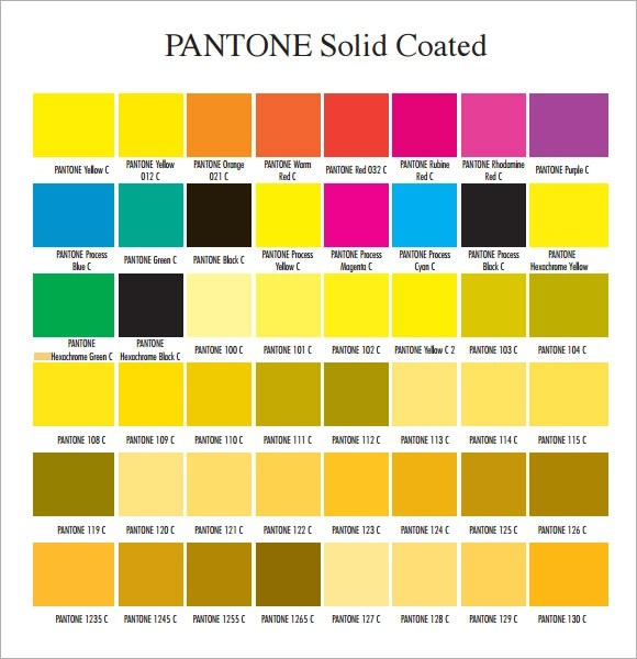 Sample Pantone Color Chart oakandale - sample pms color chart