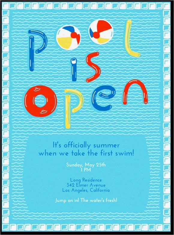free pool party invitations for kids