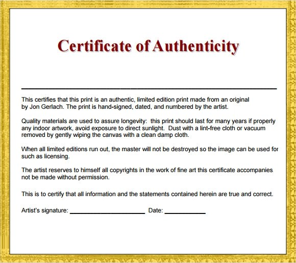 36+ Sample Certificate of Authenticity Templates Sample Templates - Certification Document Template