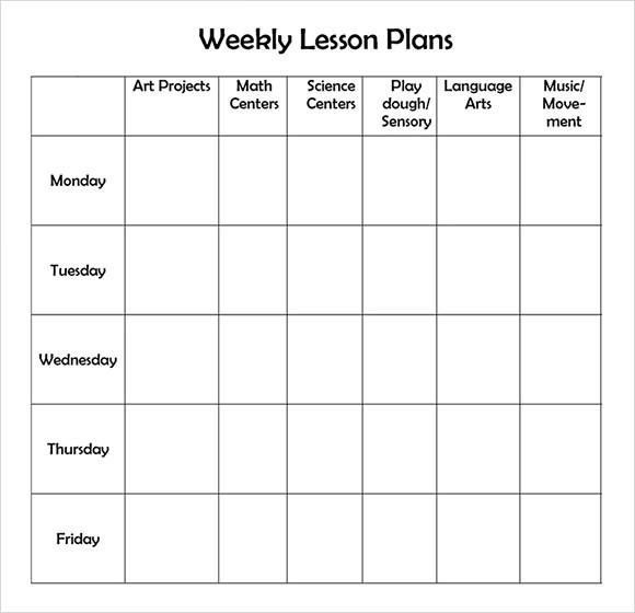9+ Sample Weekly Lesson Plans Sample Templates - sample weekly lesson plan