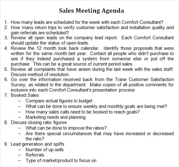 8 Sales Meeting Agenda Templates to Free Download Sample Templates - Sample Sales Meeting Agenda