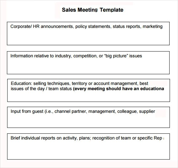 Sales Meeting Agenda - 7+ Free Download for PDF , Word - meetings template