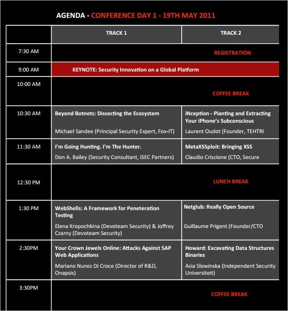 7 Sample Conference Agenda Templates to Download Sample Templates - event agenda template word