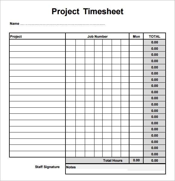 Sample Project Timesheet - Resume Template Sample