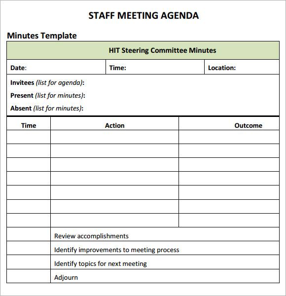 agenda for staff meeting template - Militarybralicious - minutes agenda template