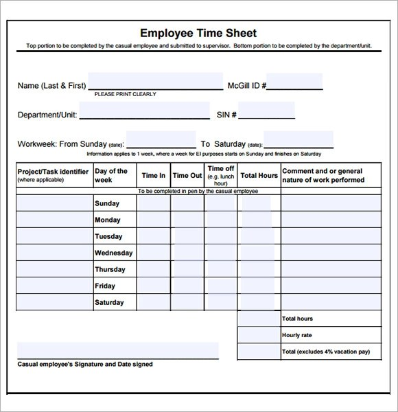 employee monthly timesheet - Maggilocustdesign