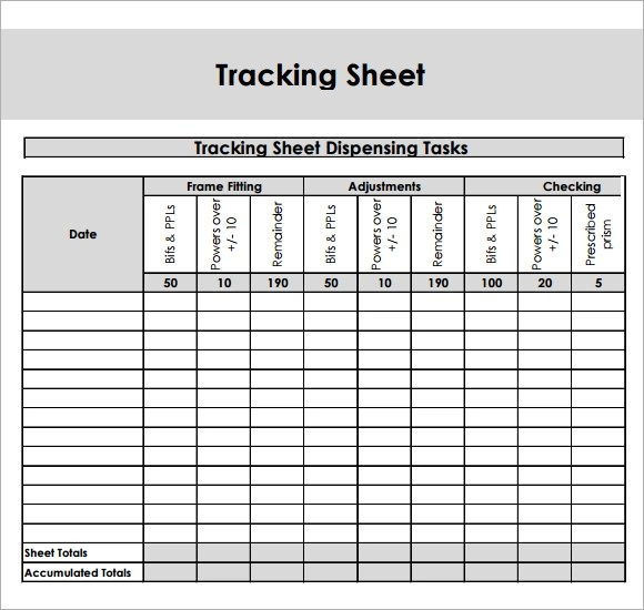 9+ Sample Editable Tracking Sheets Sample Templates