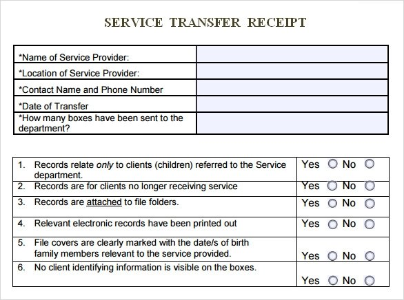 Sample Service Receipt Template - 9+ Free Documents in PDF, Word - money transfer receipt template