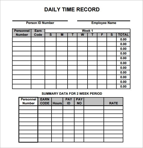 Sample Daily Timesheet - Resume Template Sample