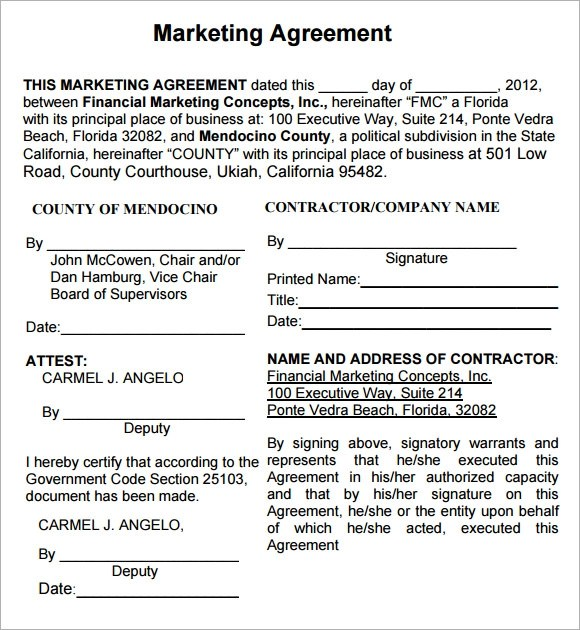 Marketing Agreement Marketing Partnership Agreement Template