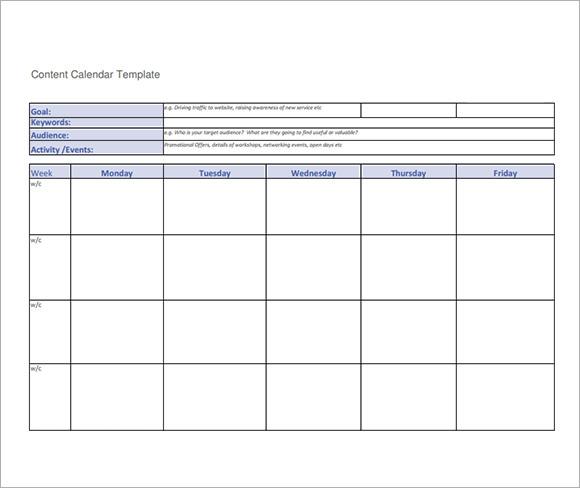 8 Sample Social Media Calendar Templates to Download Sample Templates