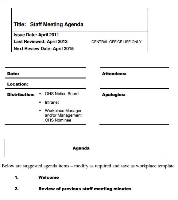 staff meeting agenda format - Trisamoorddiner