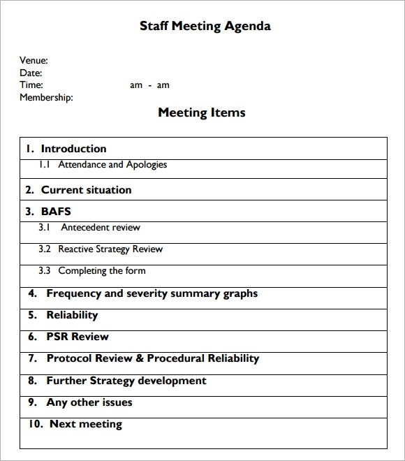 Sample Staff Meeting Agenda \u2013 5+ Example, Format
