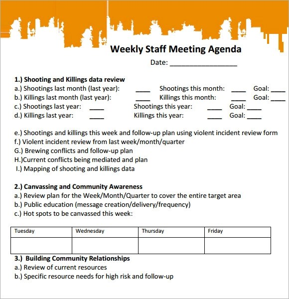 6+ Staff Meeting Agenda Samples Sample Templates