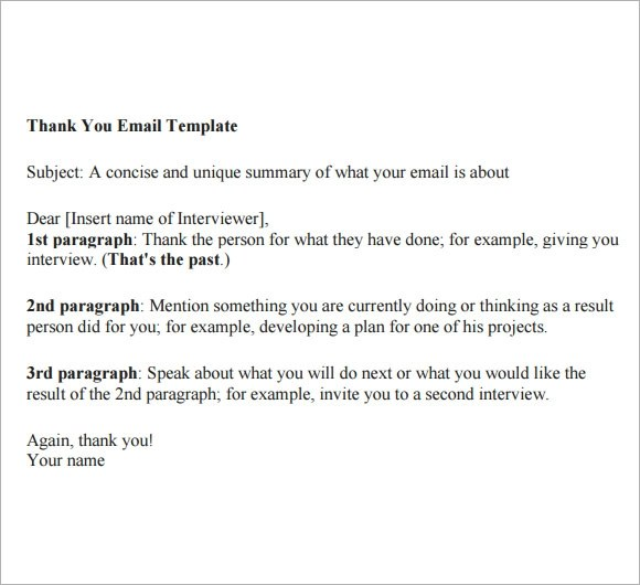Sample Thank You Email - 4+ Documents in PDF - thank you email template