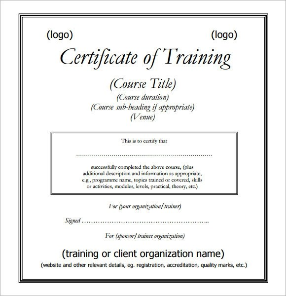 sample training certificate format - Romeolandinez
