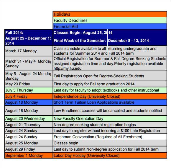 9 Academic Calendar Templates \u2013 Free Samples, Examples  Format