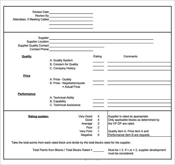 7+ Sample Vendor Evaluations Sample Templates