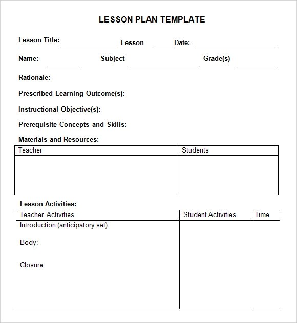 Sample Simple Lesson Plan Template General Music Lesson Plan - sample music lesson plan template