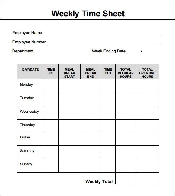 simple weekly timesheet template