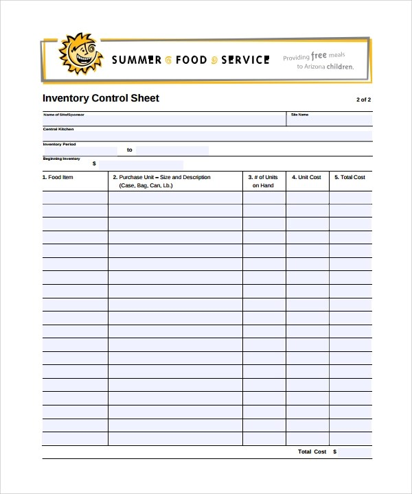 9 Sample Inventory Sheet Templates to Download for Free Sample