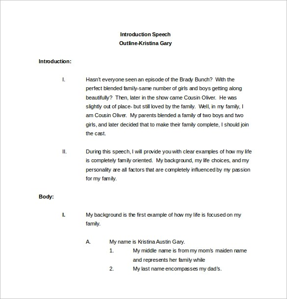 Sample Speech Outline Template - 9+ Free Documents Download in PDF, Word