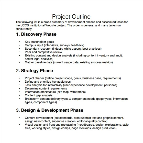 10 Sample Project Outline Templates to Download Sample Templates - project outline template
