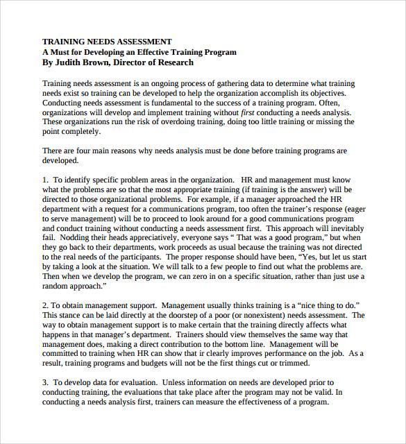 14+ Sample Training Needs Assessment Templates \u2013 PDF, Word Sample - organizational assessment template
