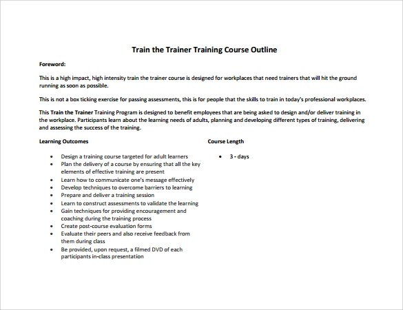Training Outline Template - seminar planning template