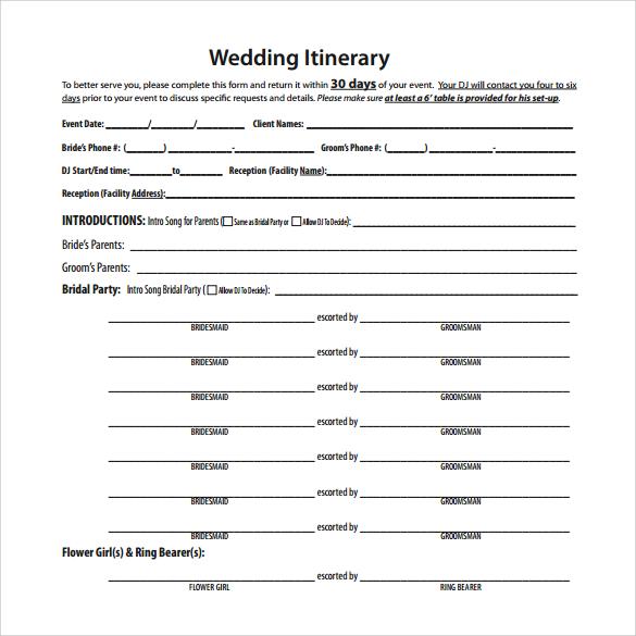 sample wedding itinerary template