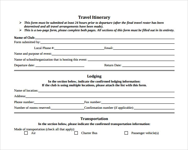 7 Road Trip Itinerary Templates Sample Templates - travel itinerary example