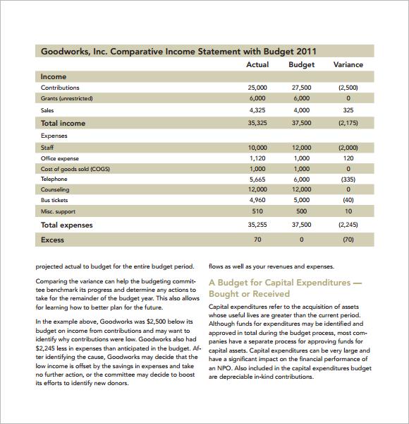 9+ Non Profit Budget Templates - Word, PDF, Excel