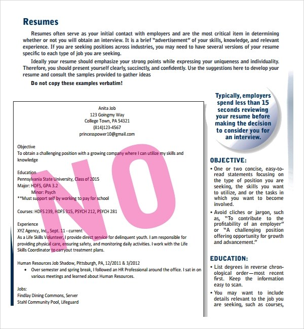 Sample Resume For High School Students Sample Resume Template For Students In University 9