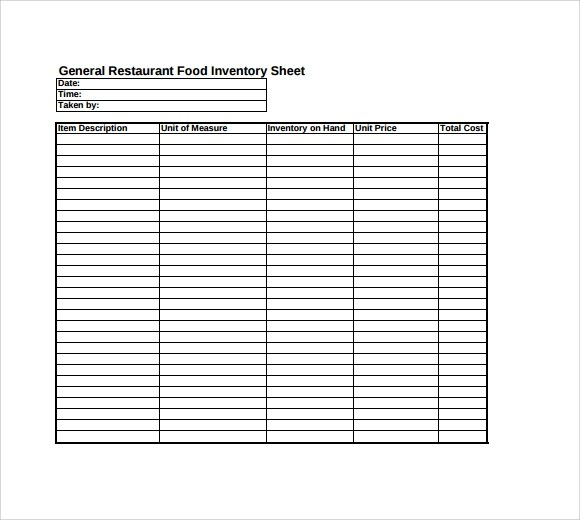 free food inventory template - Ozilalmanoof - restaurant inventory template