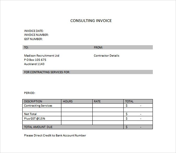 Sample Invoice Template - Download Free Documents in Word, PDF, Excel - consulting invoice template