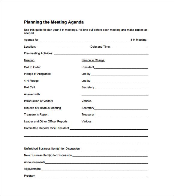 6 Sample Agenda Planner Templates Sample Templates - agenda planner template
