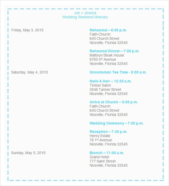 Sample Wedding Weekend Itinerary Template - 12+ Documents in PDF