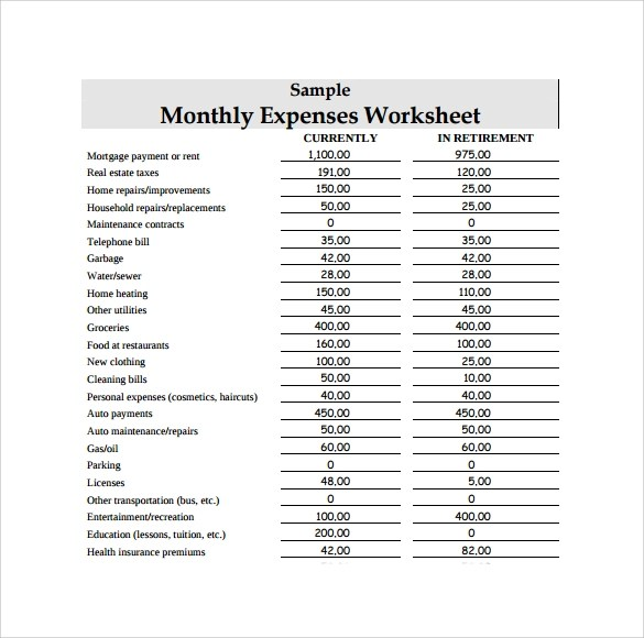 monthly expenses list sample - Delliberiberi - list of expenses