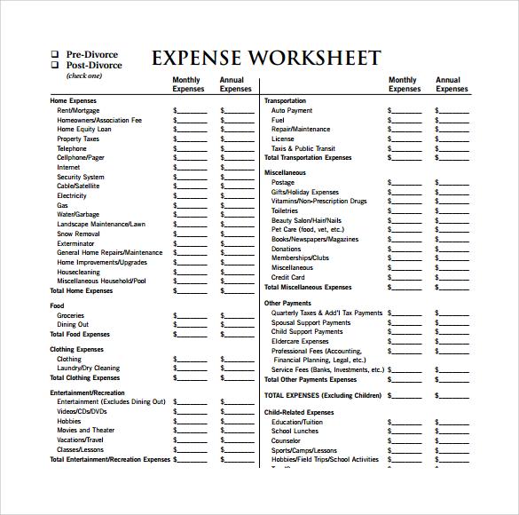 14 Sample Expense Sheet Templates to Download Sample Templates - expense sheet
