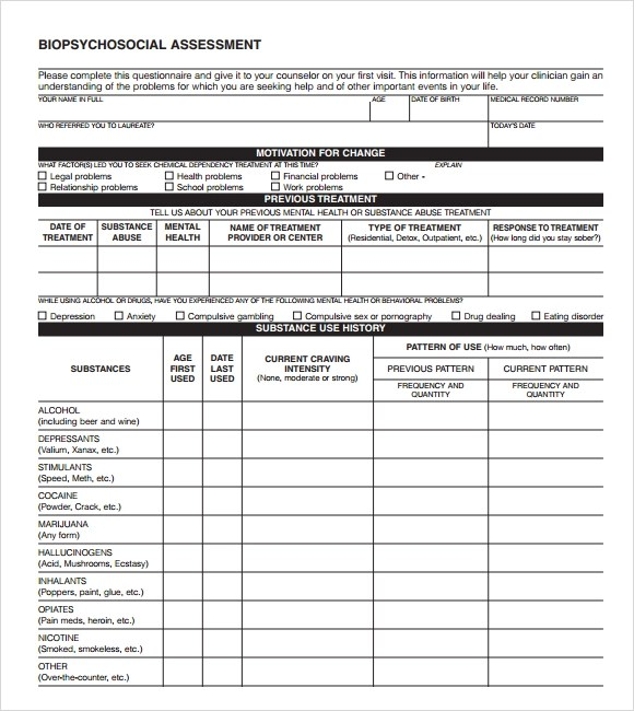 9+ Sample Psychosocial Assessments \u2013 PDF, DOC Sample Templates - Biopsychosocial Assessment Template