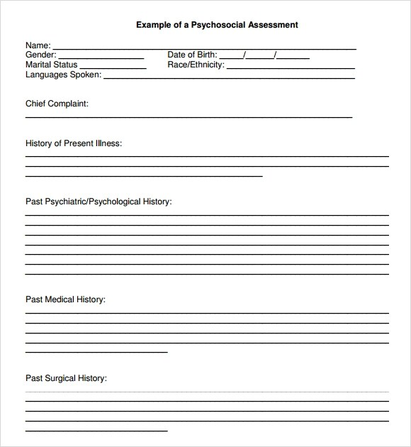 Sample Psychosocial Assessment - 8+ Documents in Word, PDF - psychosocial assessment template