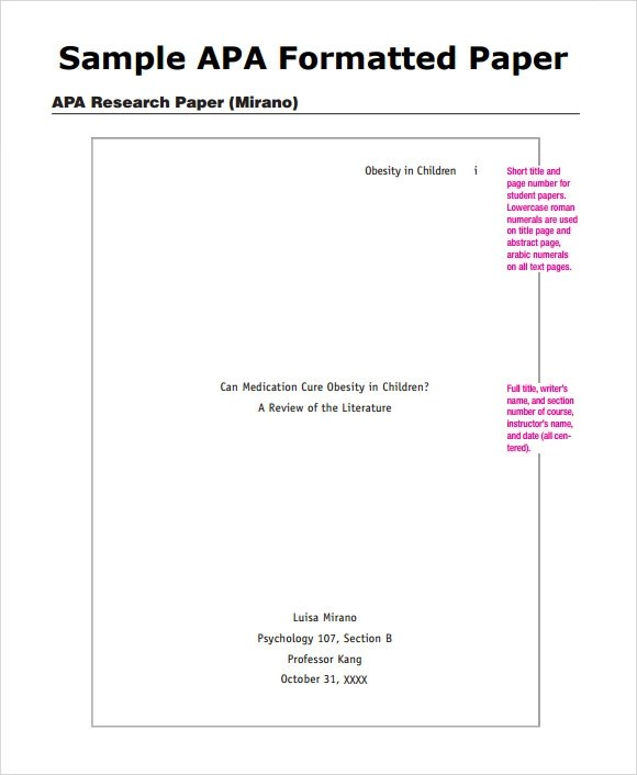 Sample APA Outline Template - 8+Free Documents in PDF