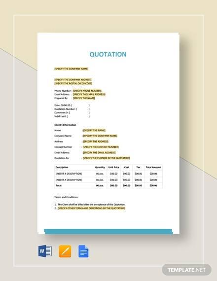 52+ Quotation Templates - DOC, PDF, Excel