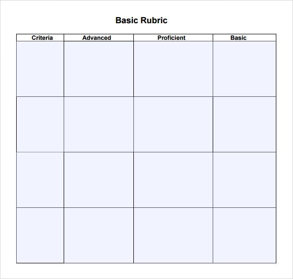 Sample Blank Rubric - 9+ Documents in Word, PDF