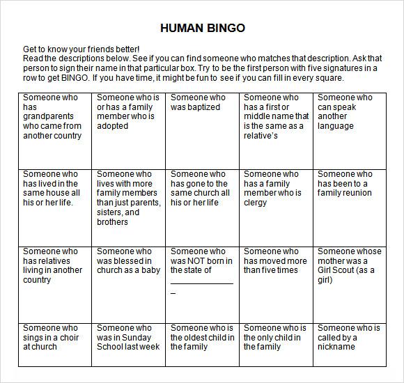 9+ Blank Bingo Samples \u2013 PDF, Word Sample Templates