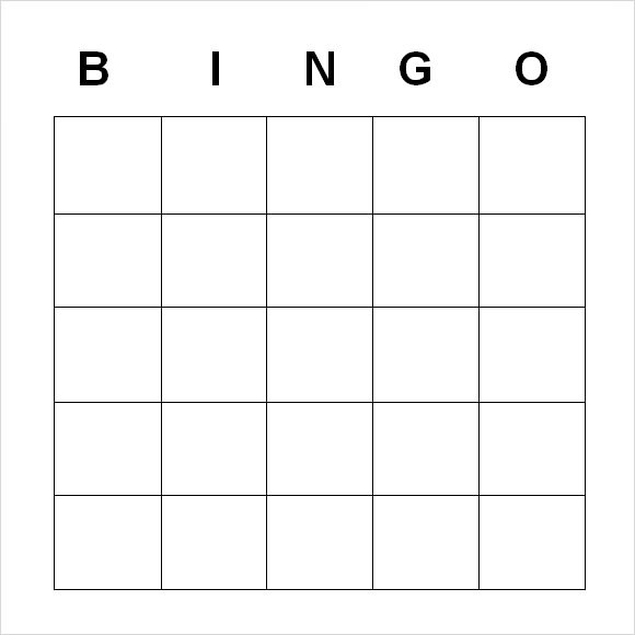9+ Blank Bingo Samples \u2013 PDF, Word Sample Templates - free card templates for word