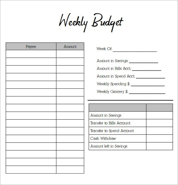 printable weekly budget worksheet - Onwebioinnovate
